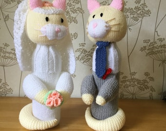 Bride and Groom Hand Knitted Wine Bottle Cover - Cat