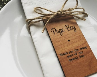 Page Boy Wooden Place Setting
