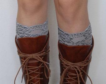 Lace Boot Cuffs - Gray