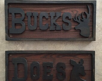 Buck & Doe Wood Restroom Signs