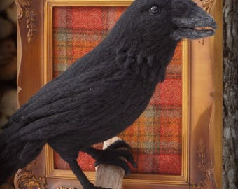 Needle Felted One of a kind Wool Faux Taxidermy Raven Crow Soft Sculpture by Bella McBride of McBride House