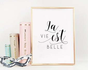 FRENCH QUOTE, La Vie Est Belle, Life Is Beautiful,Life Quote,French Saying,French Print,Home Decor,Dorm Room Decor,Family Sign,Enjoy Life