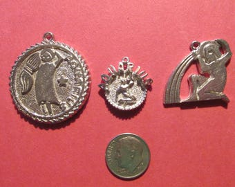 Three Pewter Aquarius Zodiac Pendants
