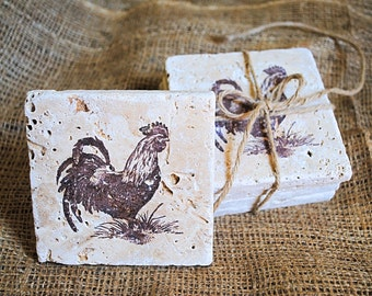 Country Rooster Coaster, Rooster Coasters, Tile Coaster, Black Friday Sale, White Elephant Gift, Set of 4 Stone Coasters, Chicken Coasters