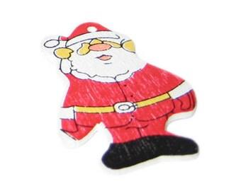 42 x 28mm Red Wood Santa, 4 ornaments