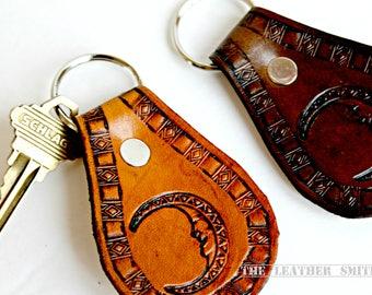 Southwestern Moon Leather Key Fob - Moon Keychain - Western Key Fobs - Bohemian Accessories - Boho Moon Key Chain