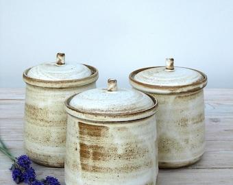 Ceramic Jar With Lid, Ceramic Jar, Ceramic Salt Cellar, Sugar Jar, Rustic Jar, White Jar, White Jar, Ceramic Lidded Jar, Lidded Jar
