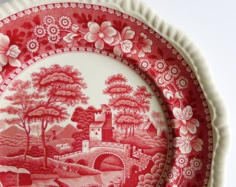 """Antique Copeland 10-3/4"""" 'Spode's Tower' Pink Transferware Plate, England. Tea Party, Cake Lunch Plate, Vintage Gift, Vintage Styling Prop"""