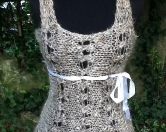 Athena - Crossed Loop Stitch Lace Top PDF Knitting Pattern for handspun yarn - US 10/11 (6 - 8 mm)