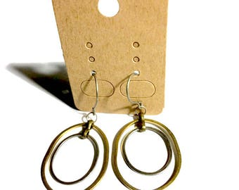 Silver and Brass Oblong Shape Earrings