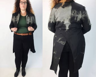 Handmade Black Coattail Jacket Grunge Bleached Cropped Blazer Medium/Large - Steampunk Goth Unique Cotton Blazer Two Tone Upcycled Jacket
