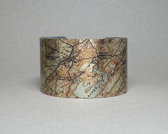Freeport Maine Cuff Bracelet Vintage Map Unique Gift for Men or Women