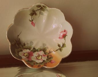Cottage Chic hand painted 40's cottage chic Pink rose porcelain trinket dish