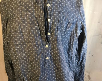 button up oxford j. crew jcrew blue denim jean circle dot white long sleeve three 3/4 sleeve 0 xs pocket