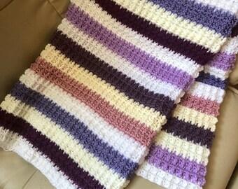 RTS Crocheted Baby Blanket Soft Striped Girl/Boy Bassinet Crib Cozy