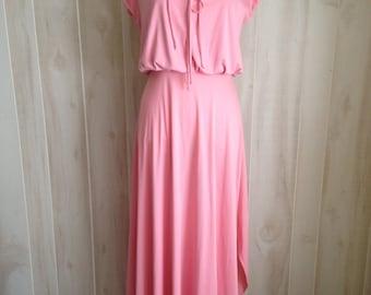 Gorgeous Pink 60s Vintage Handmade Maxi Dress Asymmetrical Hem