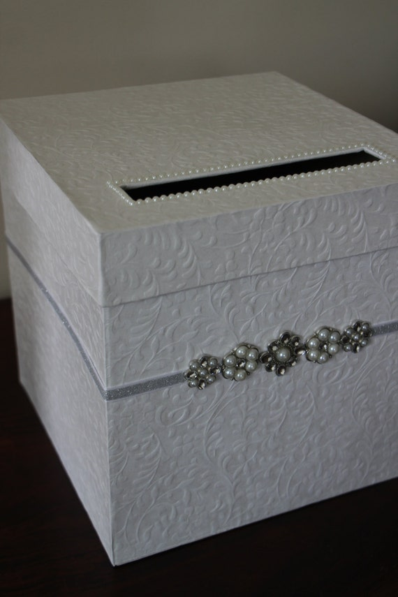 Elegant Wedding Card Box Ivory Card Box With Bling Detail