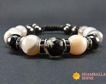 Grey black bracelet Natural agate jewelry Unisex beaded bracelet Healing gemstone bracelet Gift ideas for friend Classic style jewelry