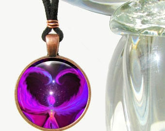 "Purple Necklace, Angel Jewelry, Chakra Energy Pendant, Reiki Heart ""Angel Way"""