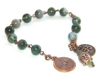 Meditation Beads for Recovery 12 Step Programs / Om & Buddha Prayer Beads