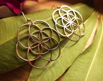 Seed of Life Earrings Copper Earrings Sterling Silver Mixed Metal Boho Sacred Geometry Jewelry Mathematic Earrings Flower of Life Pattern