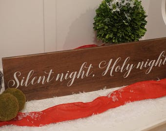Silent night, Holy night wood sign. Silent night, Holy night rustic sign. Christmas decor. Happy Holidays wood sign.