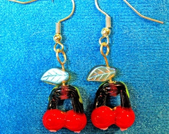 Red Glass Cherries Dangle Earrings