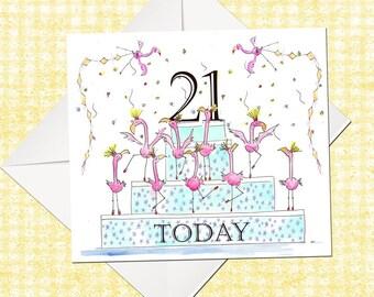 21st Birthday Card, Happy Birthday Card, Birthday Card, Greetings Card