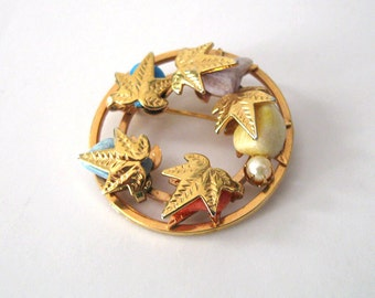 Sarah Coventry Semi Precious Stones Brooch Signed SARAH, Genuine Stones and Pearl, Gold Leaves Circle Brooch