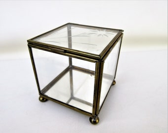 Vintage Glass Brass Display | Glass Box | Brass Box | Mirrored Display | Etched Glass Case | Hinged Box