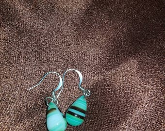 Light green and brown striped earrings