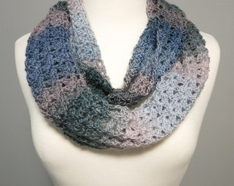 Crochet Infinity Scarf in Pink and Blue