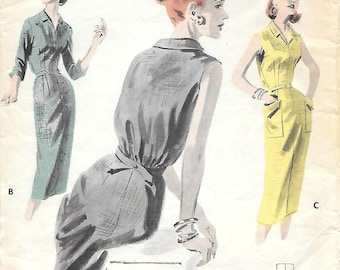 Butterick 7781 1950s Quick N Easy Tailored Sheath Dress Vintage Sewing Pattern Bust 36