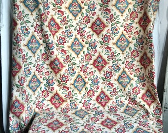 "Vintage Fabric, 19C Antique Mattress Cover Panel French Cretonne Textile Jacobean Style - French Home Decor 67""x28"""