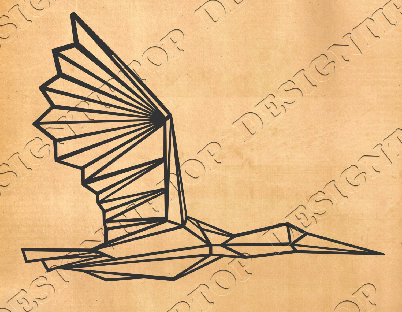 Geometric bird svg,Geometric crane, Origami Print, polygonal SVG ...