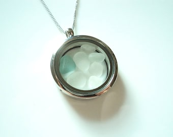 Memory locket pendant of Seaham Sea Glass on Stainless Steel chain - E1754 - from Seaham beach,  UK
