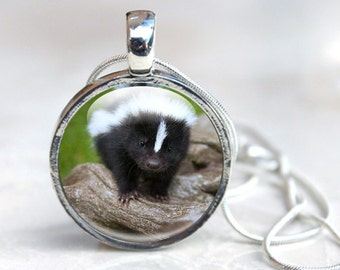 Skunk Gifts - Skunk Jewellery - Baby Skunk Jewelry - Glass Necklace (SG1)