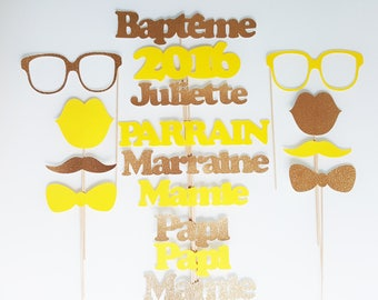 Lot photobooth baptism child-custom name-Godfather godmother