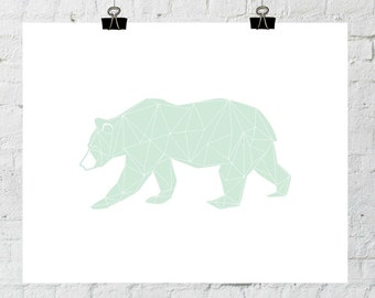 Green Bear Print, Minimal Bear, Bear Nursery Art, Nursery Minimal Art, Mint Nursery, Kids Wall Decor, Modern Nursery Art, Nursery Printable