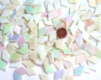Pale Amber Iridescent Mosaic Tile Diamonds
