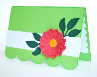 Flower Greeting Card - Feminine Note Card - Blank Inside Friendship Card - Just Because Card
