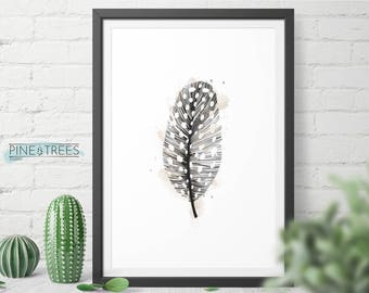 Feather printable wall art, minimalist wall decor, digital download