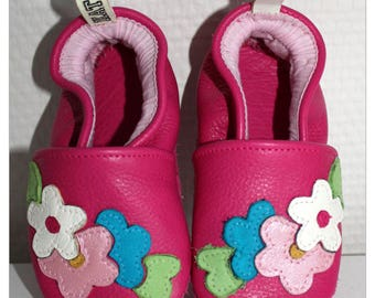 Leather slippers soft flower girl