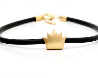 sterling silver gold plated necklace with rubber cord, silver necklace, vanitas, crown necklace