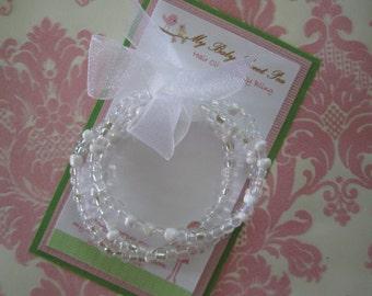 Girls bracelets - white stretch bracelets - baby girl bracelets