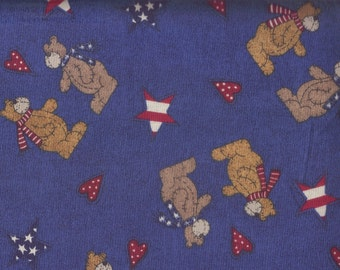 Bear Fabric, Bears Patriotic Fabric, Blue Fabric, 1 yard Fabric