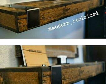 Rustic Reclaimed Wood Floating Shelf with Gunmetal Steel Hardware Straps/wall Shelf. Mixed.