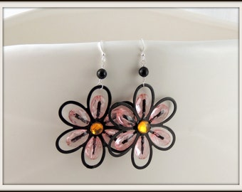 Black, Pink, and Yellow Flower Earrings