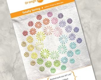 """Printed quilt pattern - """"Totally Spring"""" - gorgeous, modern and colorful quilt, raw edge fusible appliqué - 60"""" x 60"""""""