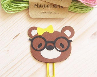Nerd Bear Planner Clip, Nerd Bear Paper Clip, Planner Accessories, Stationery, Paperclips, Page Marker, Nerd Bear Black Glasses, FiloFax